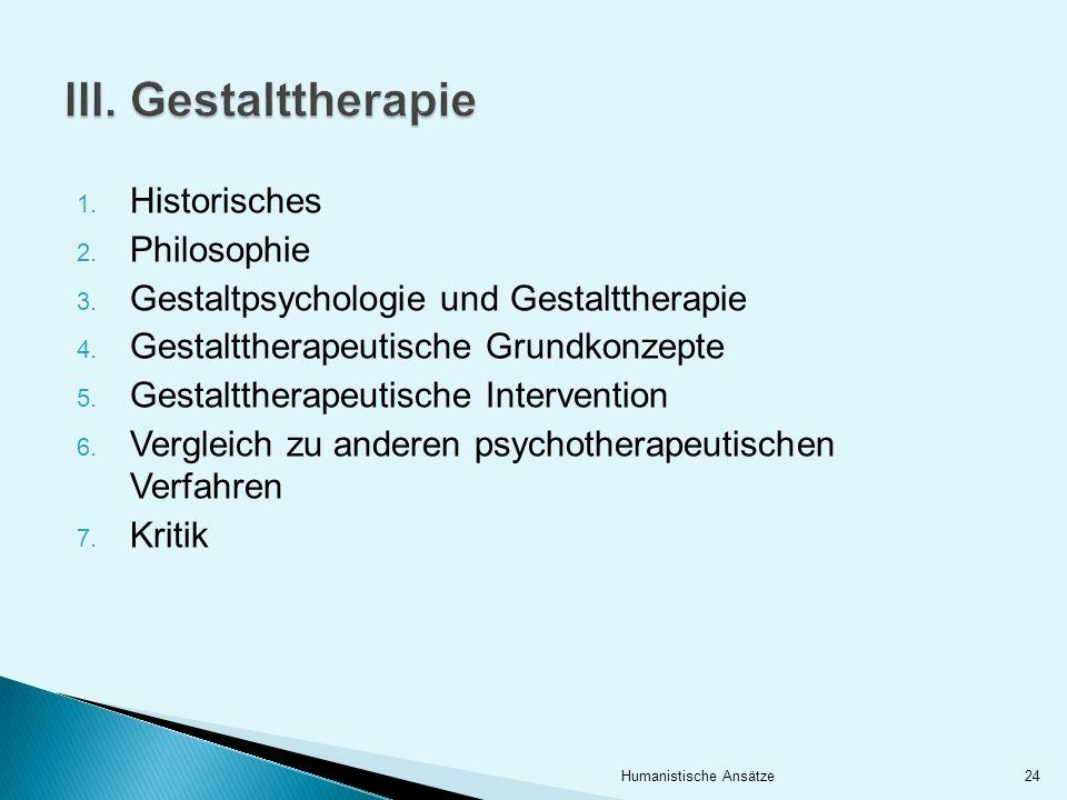 1. Historisches 2. Philosophie 3. Gestaltpsychologie und Gestalttherapie 4. Gestalttherapeutische Grundkonzepte 5. Gestalttherapeutische Intervention