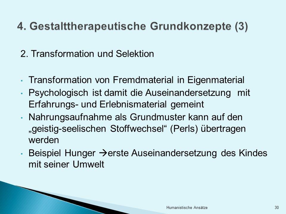 2. Transformation und Selektion Transformation von Fremdmaterial in Eigenmaterial Psychologisch ist damit die Auseinandersetzung mit Erfahrungs- und E
