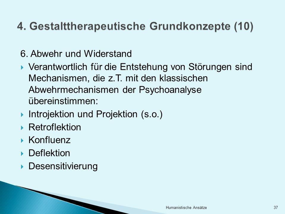 6. Abwehr und Widerstand Verantwortlich für die Entstehung von Störungen sind Mechanismen, die z.T. mit den klassischen Abwehrmechanismen der Psychoan