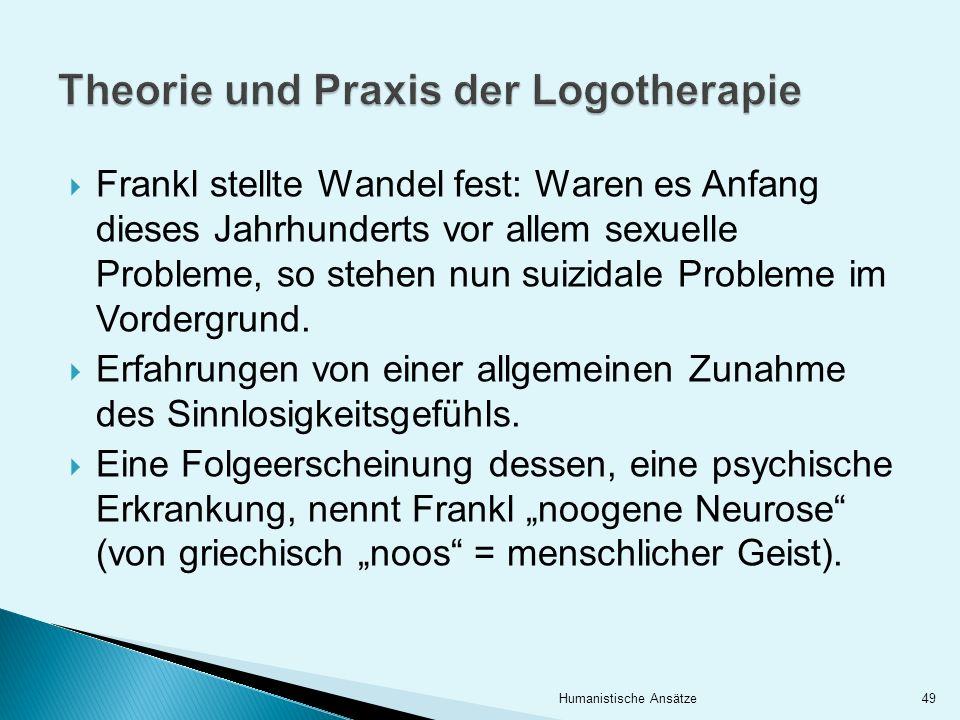 Frankl stellte Wandel fest: Waren es Anfang dieses Jahrhunderts vor allem sexuelle Probleme, so stehen nun suizidale Probleme im Vordergrund. Erfahrun