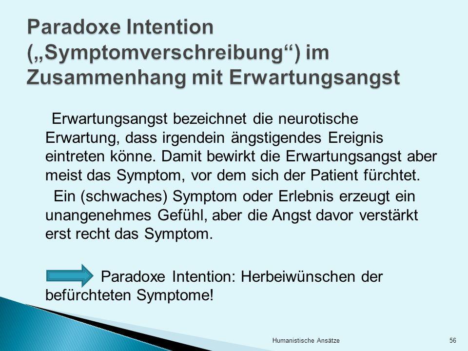 Erwartungsangst bezeichnet die neurotische Erwartung, dass irgendein ängstigendes Ereignis eintreten könne. Damit bewirkt die Erwartungsangst aber mei