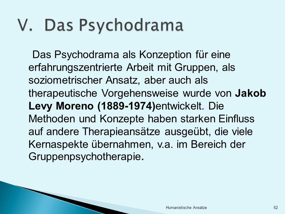 Das Psychodrama als Konzeption für eine erfahrungszentrierte Arbeit mit Gruppen, als soziometrischer Ansatz, aber auch als therapeutische Vorgehenswei