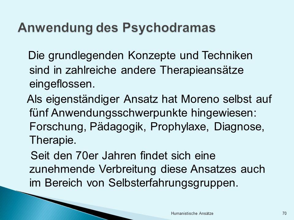 Die grundlegenden Konzepte und Techniken sind in zahlreiche andere Therapieansätze eingeflossen. Als eigenständiger Ansatz hat Moreno selbst auf fünf