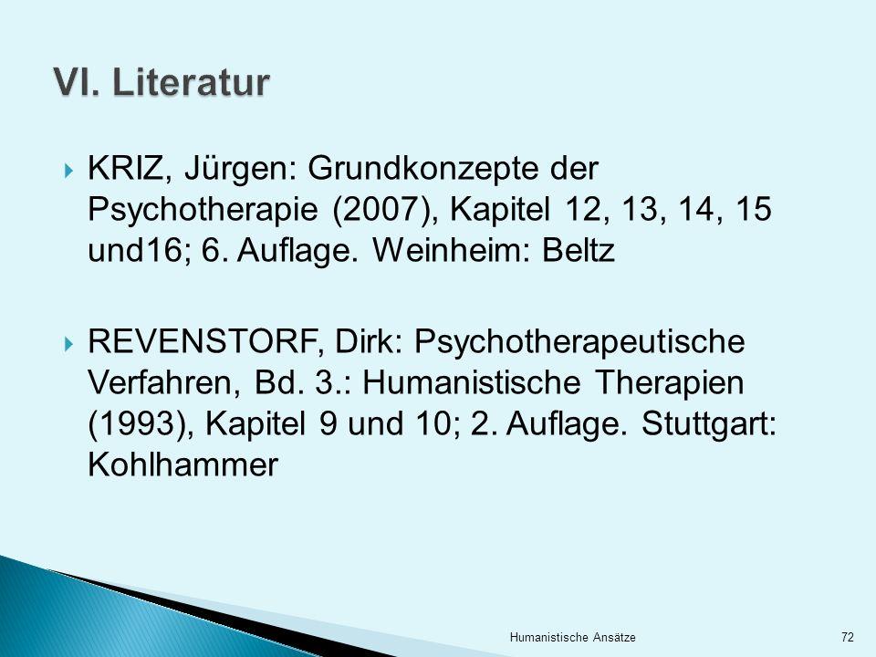 KRIZ, Jürgen: Grundkonzepte der Psychotherapie (2007), Kapitel 12, 13, 14, 15 und16; 6. Auflage. Weinheim: Beltz REVENSTORF, Dirk: Psychotherapeutisch