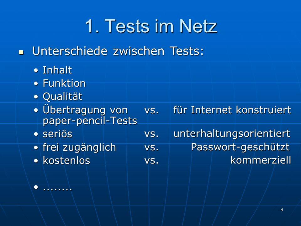 4 1. Tests im Netz InhaltInhalt FunktionFunktion QualitätQualität Übertragung von paper-pencil-TestsÜbertragung von paper-pencil-Tests seriösseriös fr