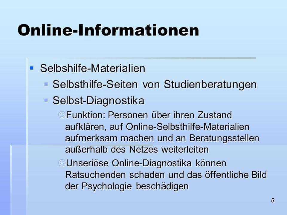 26 Verteilung der Studien über ihre Theoretischen Grundlagen KBT = kognitiv-behavioral, BT = verhaltenstherapeutisch, CC = Klienten-zentriert, EDU = edukative Maßnahmen, KEINE = Foren & Mailinglisten, die soz.