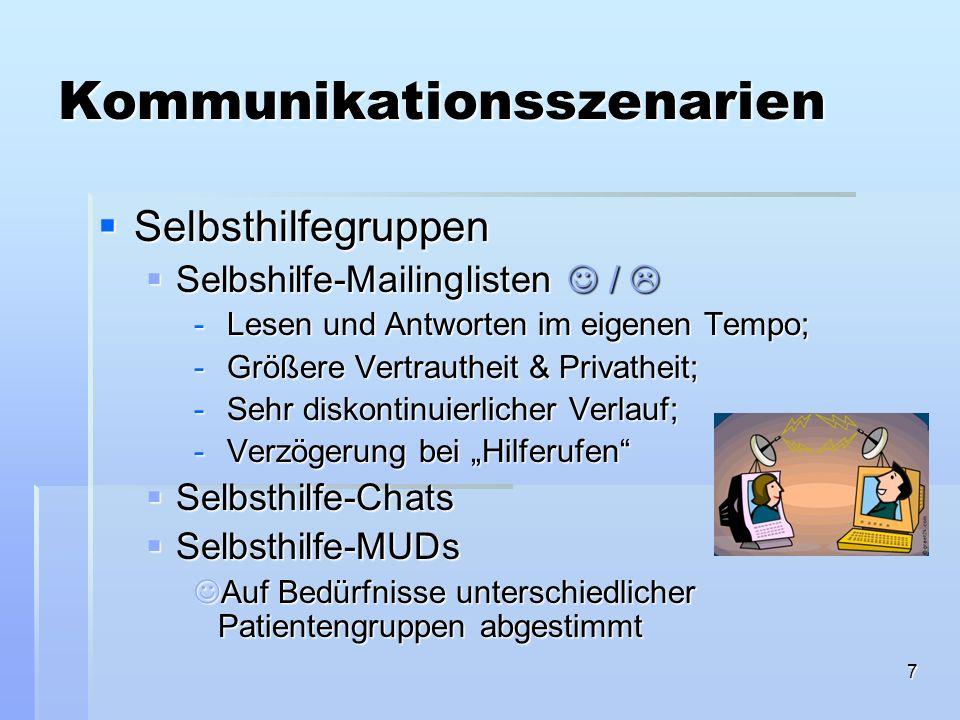 8 Kommunikationsszenarien Psychologische Beratung Psychologische Beratung Netz-Beratung von Psychotherapeutinnen Netz-Beratung von Psychotherapeutinnen Kostenpflichtig, Qualität ??.