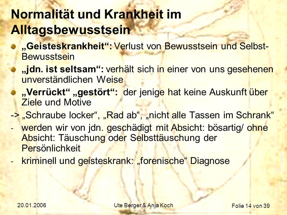 Folie 14 von 39 20.01.2006Ute Berger & Anja Koch Normalität und Krankheit im Alltagsbewusstsein Geisteskrankheit: Verlust von Bewusstsein und Selbst-