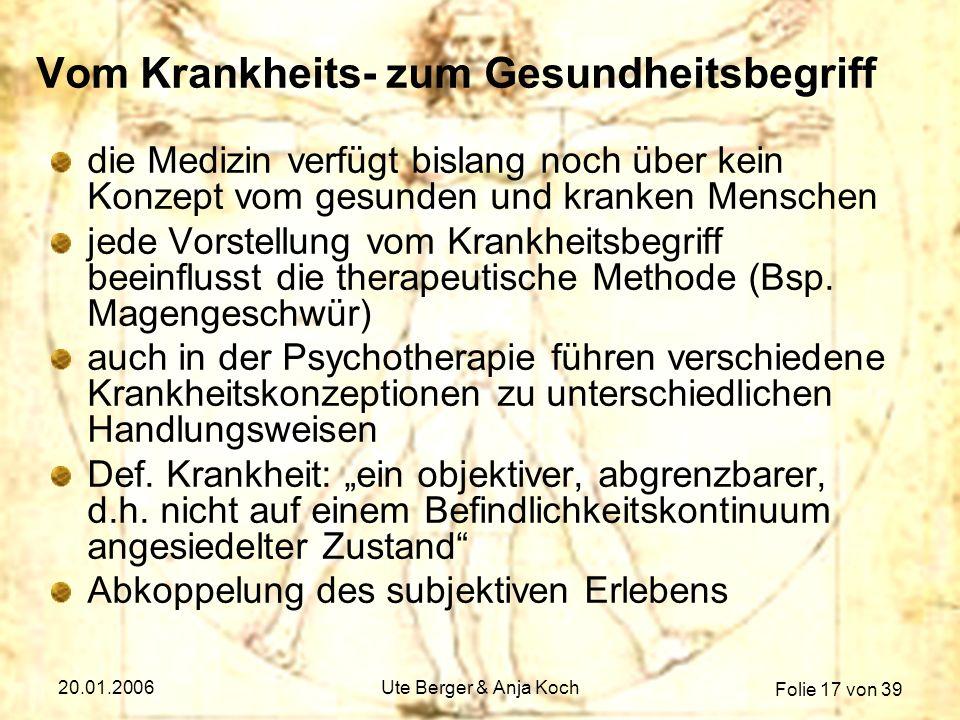 Folie 17 von 39 20.01.2006Ute Berger & Anja Koch Vom Krankheits- zum Gesundheitsbegriff die Medizin verfügt bislang noch über kein Konzept vom gesunde