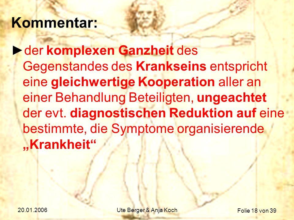 Folie 18 von 39 20.01.2006Ute Berger & Anja Koch Kommentar: der komplexen Ganzheit des Gegenstandes des Krankseins entspricht eine gleichwertige Koope