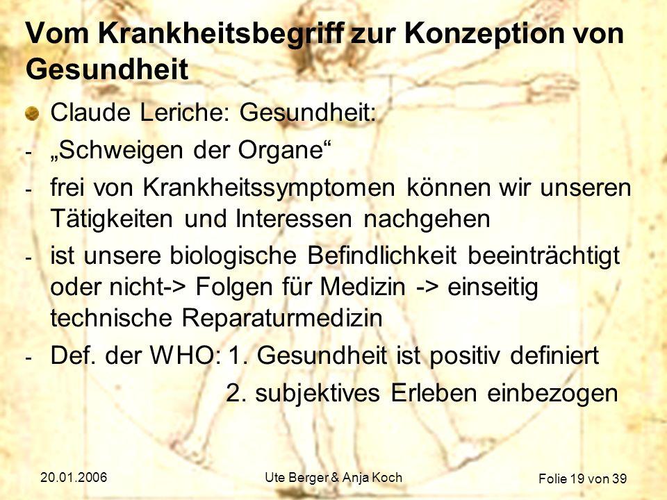 Folie 19 von 39 20.01.2006Ute Berger & Anja Koch Vom Krankheitsbegriff zur Konzeption von Gesundheit Claude Leriche: Gesundheit: - Schweigen der Organ