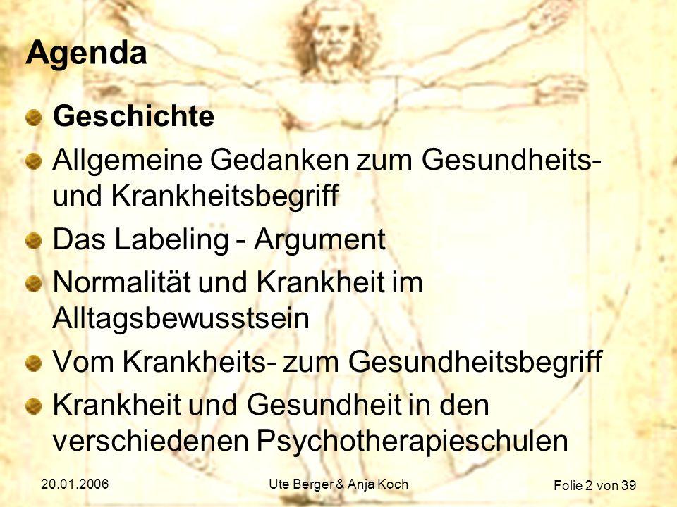 Folie 33 von 39 20.01.2006Ute Berger & Anja Koch Verhaltenstherapie 2/2 Konsequenzen für Diagnostik & Therapie Kognitive VT dominiert => einsichtsvolles Problemlösetraining (Konsequenzen zieht Patient selbst) Diagnosefunktion: Welche Verhaltensmuster verlangen Veränderung.