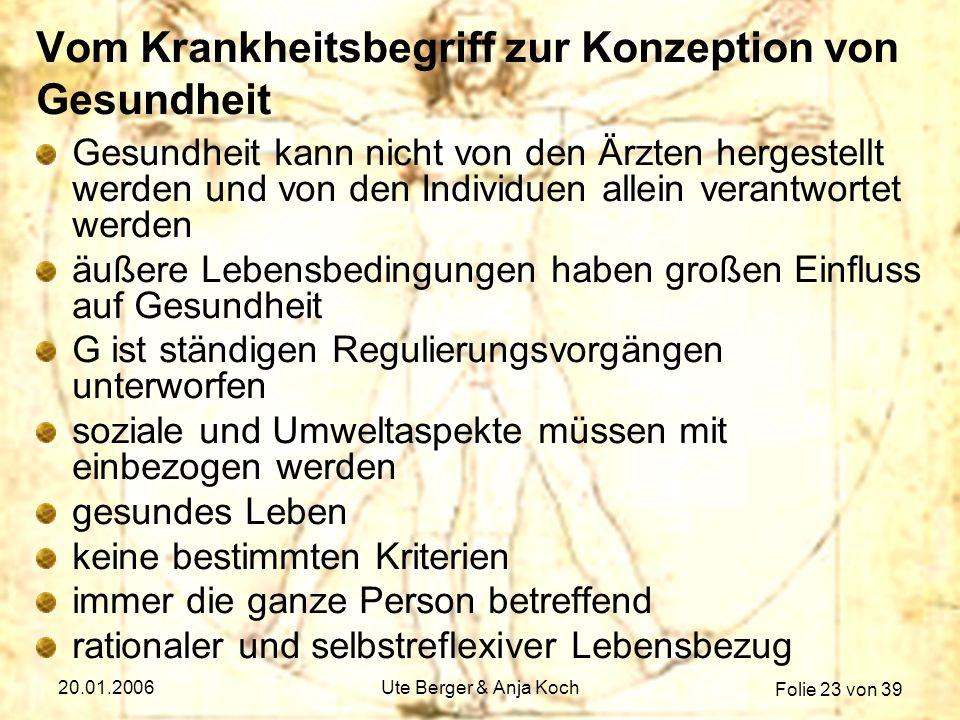Folie 23 von 39 20.01.2006Ute Berger & Anja Koch Vom Krankheitsbegriff zur Konzeption von Gesundheit Gesundheit kann nicht von den Ärzten hergestellt