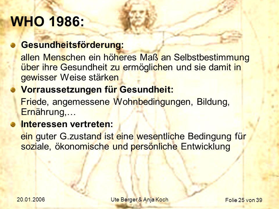 Folie 25 von 39 20.01.2006Ute Berger & Anja Koch WHO 1986: Gesundheitsförderung: allen Menschen ein höheres Maß an Selbstbestimmung über ihre Gesundhe