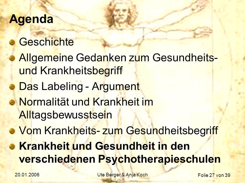 Folie 27 von 39 20.01.2006Ute Berger & Anja Koch Agenda Geschichte Allgemeine Gedanken zum Gesundheits- und Krankheitsbegriff Das Labeling - Argument