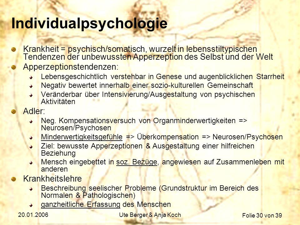 Folie 30 von 39 20.01.2006Ute Berger & Anja Koch Individualpsychologie Krankheit = psychisch/somatisch, wurzelt in lebensstiltypischen Tendenzen der u
