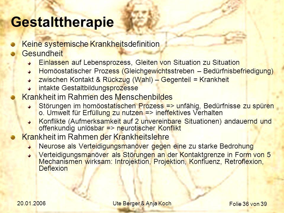 Folie 36 von 39 20.01.2006Ute Berger & Anja Koch Gestalttherapie Keine systemische Krankheitsdefinition Gesundheit Einlassen auf Lebensprozess, Gleite