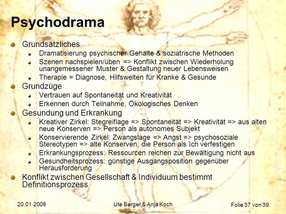Folie 37 von 39 20.01.2006Ute Berger & Anja Koch Psychodrama Grundsätzliches Dramatisierung psychischer Gehalte & soziatrische Methoden Szenen nachspi