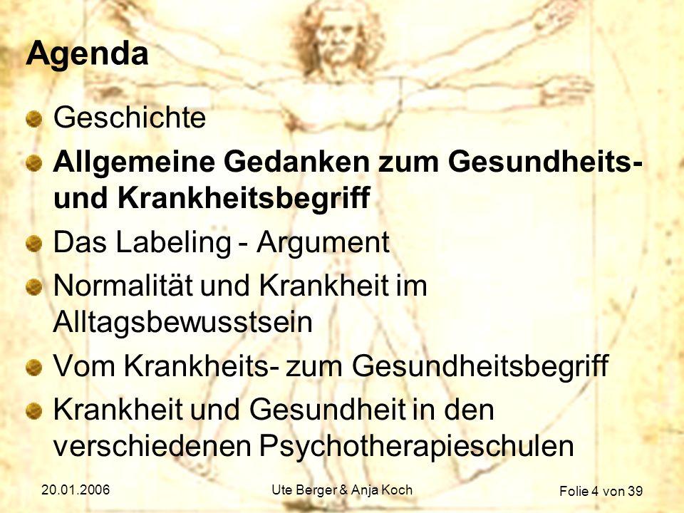 Folie 4 von 39 20.01.2006Ute Berger & Anja Koch Agenda Geschichte Allgemeine Gedanken zum Gesundheits- und Krankheitsbegriff Das Labeling - Argument N