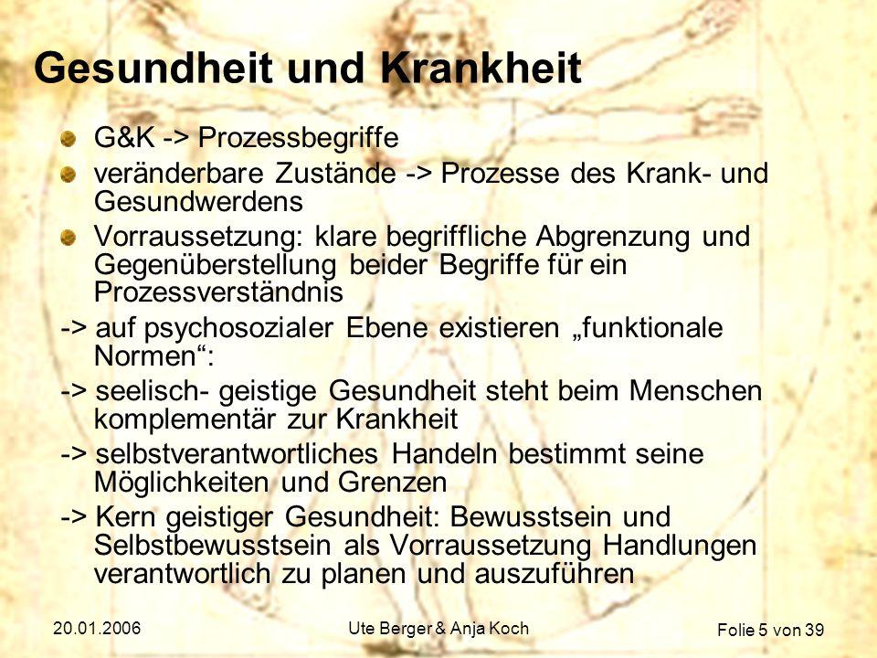 Folie 5 von 39 20.01.2006Ute Berger & Anja Koch Gesundheit und Krankheit G&K -> Prozessbegriffe veränderbare Zustände -> Prozesse des Krank- und Gesun