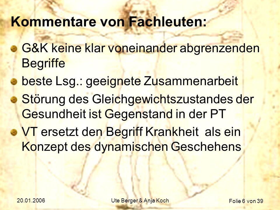 Folie 7 von 39 20.01.2006Ute Berger & Anja Koch Kommentare von Fachleuten: psychisches Kranksein multidimensionales Phänomen G.