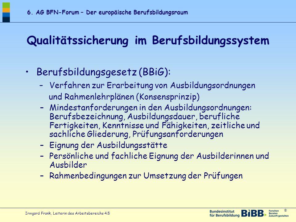 ® 6. AG BFN-Forum – Der europäische Berufsbildungsraum Irmgard Frank, Leiterin des Arbeitsbereichs 4.5 Qualitätssicherung im Berufsbildungssystem Beru