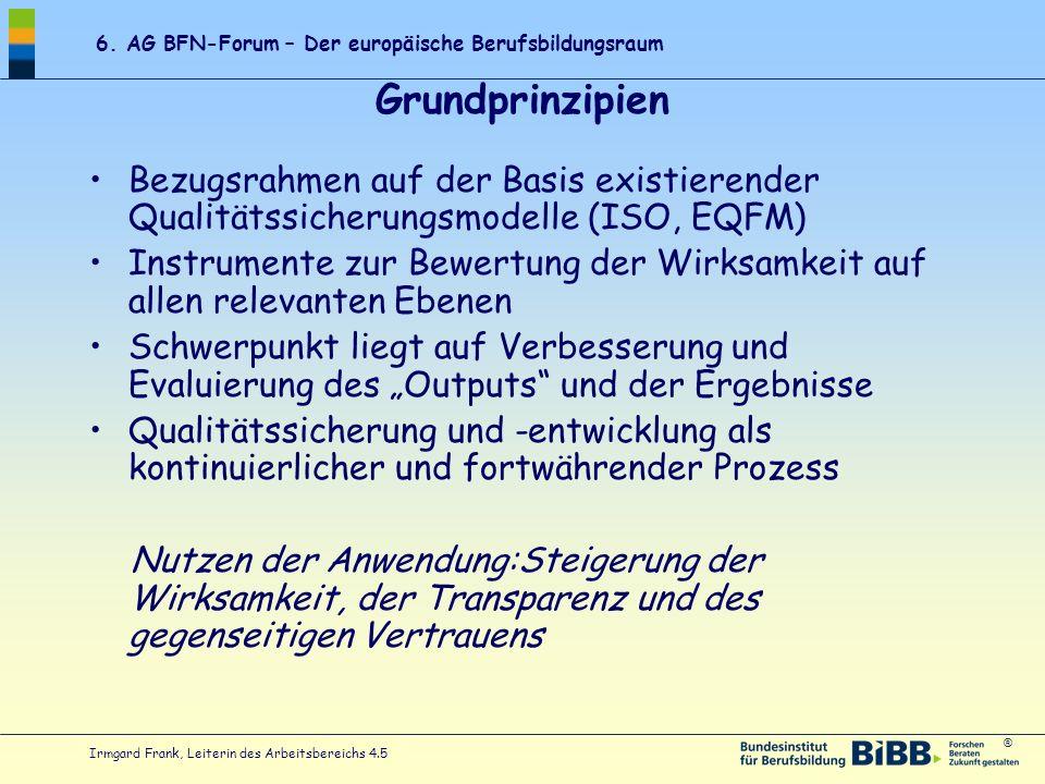 ® 6. AG BFN-Forum – Der europäische Berufsbildungsraum Irmgard Frank, Leiterin des Arbeitsbereichs 4.5 Grundprinzipien Bezugsrahmen auf der Basis exis