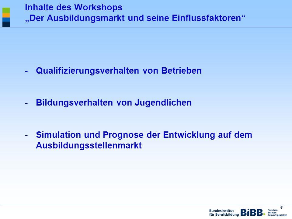 ® Inhalte des Workshops Der Ausbildungsmarkt und seine Einflussfaktoren -Qualifizierungsverhalten von Betrieben -Bildungsverhalten von Jugendlichen -S