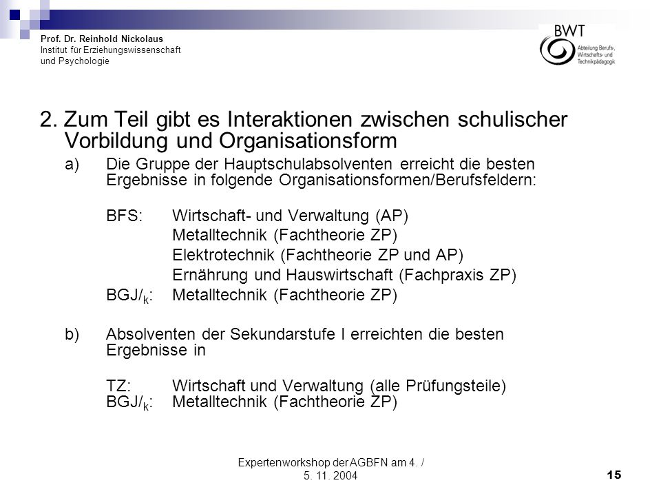 Prof. Dr. Reinhold Nickolaus Institut für Erziehungswissenschaft und Psychologie Expertenworkshop der AGBFN am 4. / 5. 11. 200415 2. Zum Teil gibt es