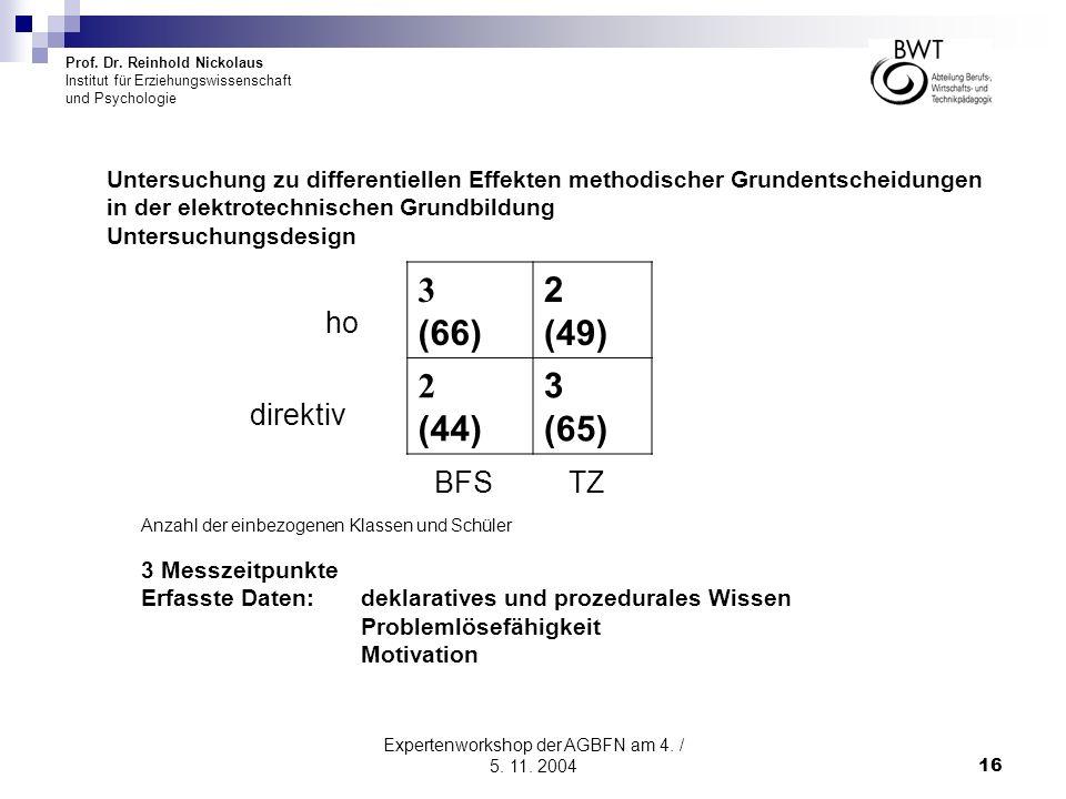 Prof. Dr. Reinhold Nickolaus Institut für Erziehungswissenschaft und Psychologie Expertenworkshop der AGBFN am 4. / 5. 11. 200416 Untersuchung zu diff