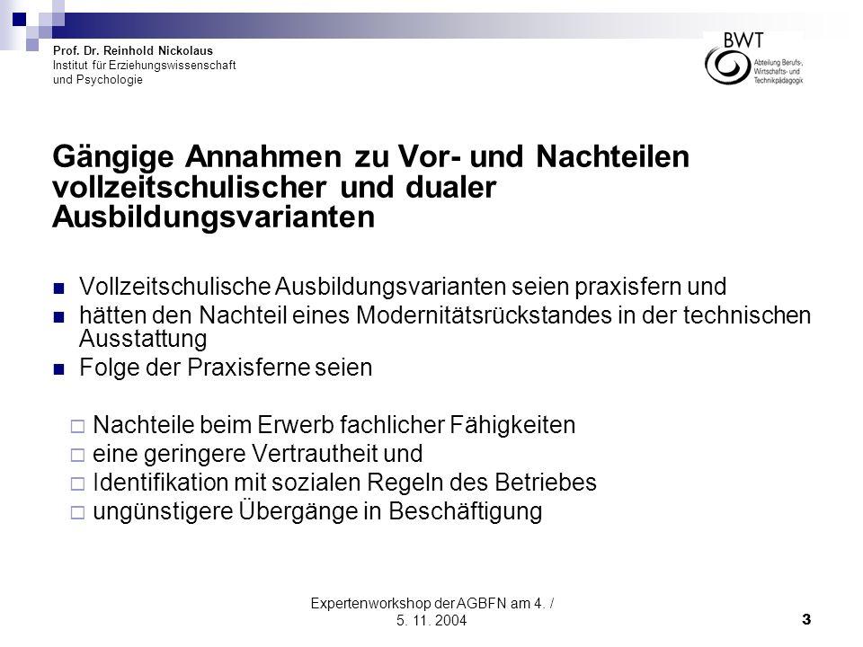 Prof. Dr. Reinhold Nickolaus Institut für Erziehungswissenschaft und Psychologie Expertenworkshop der AGBFN am 4. / 5. 11. 20043 Gängige Annahmen zu V