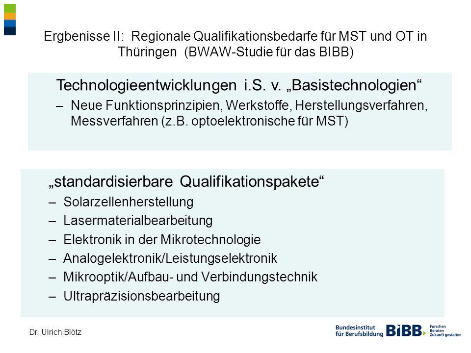 Dr. Ulrich Blötz Ergbenisse II: Regionale Qualifikationsbedarfe für MST und OT in Thüringen (BWAW-Studie für das BIBB) standardisierbare Qualifikation
