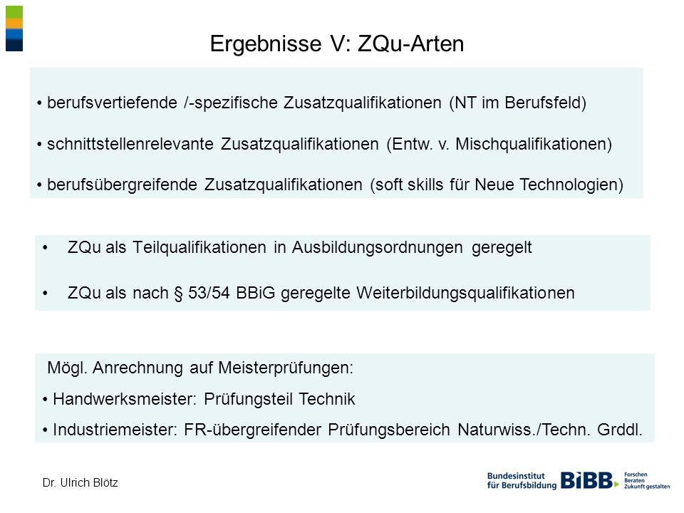 Dr. Ulrich Blötz Ergebnisse V: ZQu-Arten ZQu als Teilqualifikationen in Ausbildungsordnungen geregelt ZQu als nach § 53/54 BBiG geregelte Weiterbildun
