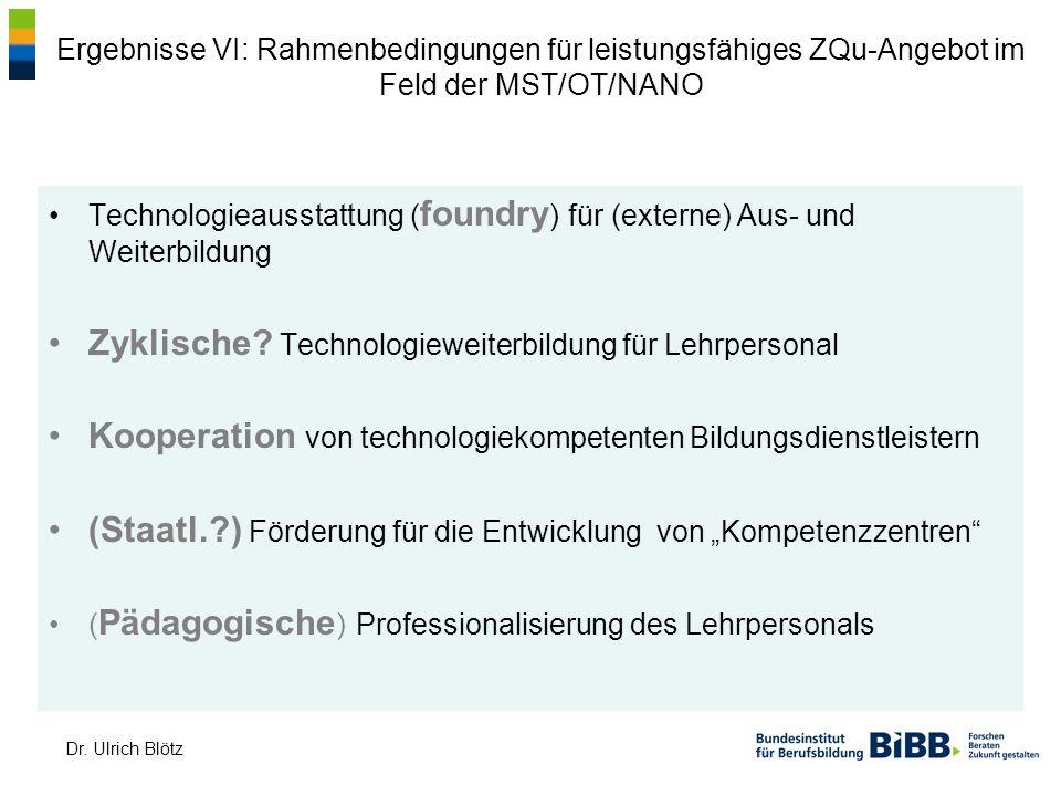 Dr. Ulrich Blötz Ergebnisse VI: Rahmenbedingungen für leistungsfähiges ZQu-Angebot im Feld der MST/OT/NANO Technologieausstattung ( foundry ) für (ext