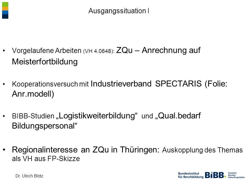 Dr. Ulrich Blötz Vorgelaufene Arbeiten (VH 4.0648): ZQu – Anrechnung auf Meisterfortbildung Kooperationsversuch mit Industrieverband SPECTARIS (Folie: