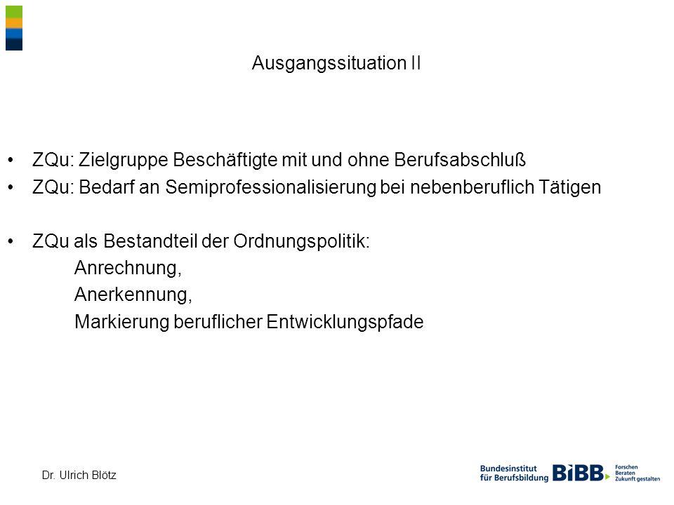 Dr. Ulrich Blötz Ausgangssituation II ZQu: Zielgruppe Beschäftigte mit und ohne Berufsabschluß ZQu: Bedarf an Semiprofessionalisierung bei nebenberufl