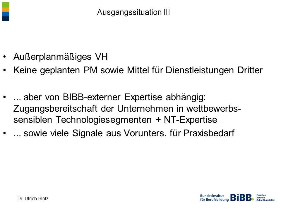 Dr. Ulrich Blötz Außerplanmäßiges VH Keine geplanten PM sowie Mittel für Dienstleistungen Dritter... aber von BIBB-externer Expertise abhängig: Zugang