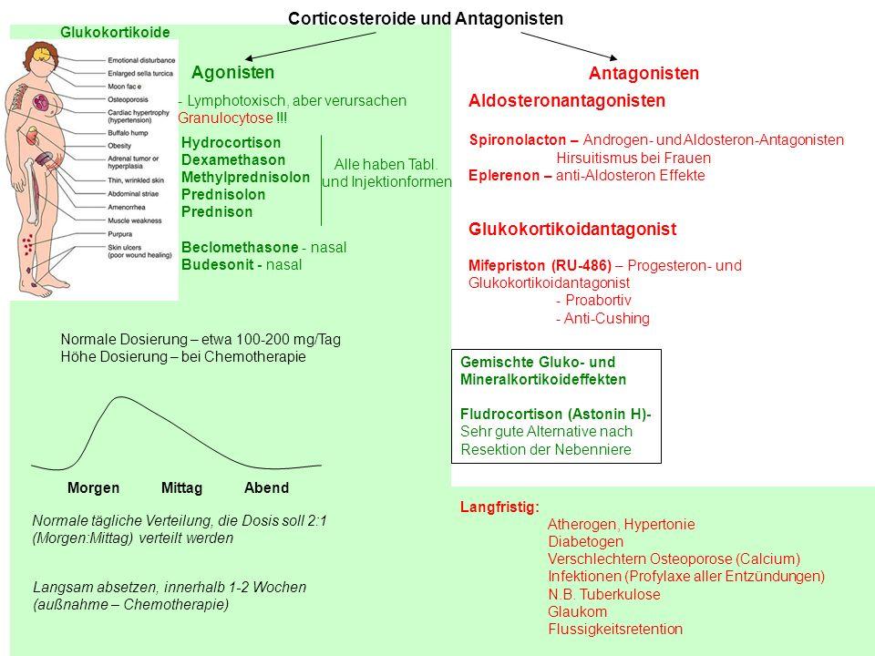 Corticosteroide und Antagonisten Agonisten Antagonisten - Lymphotoxisch, aber verursachen Granulocytose !!! Hydrocortison Dexamethason Methylprednisol