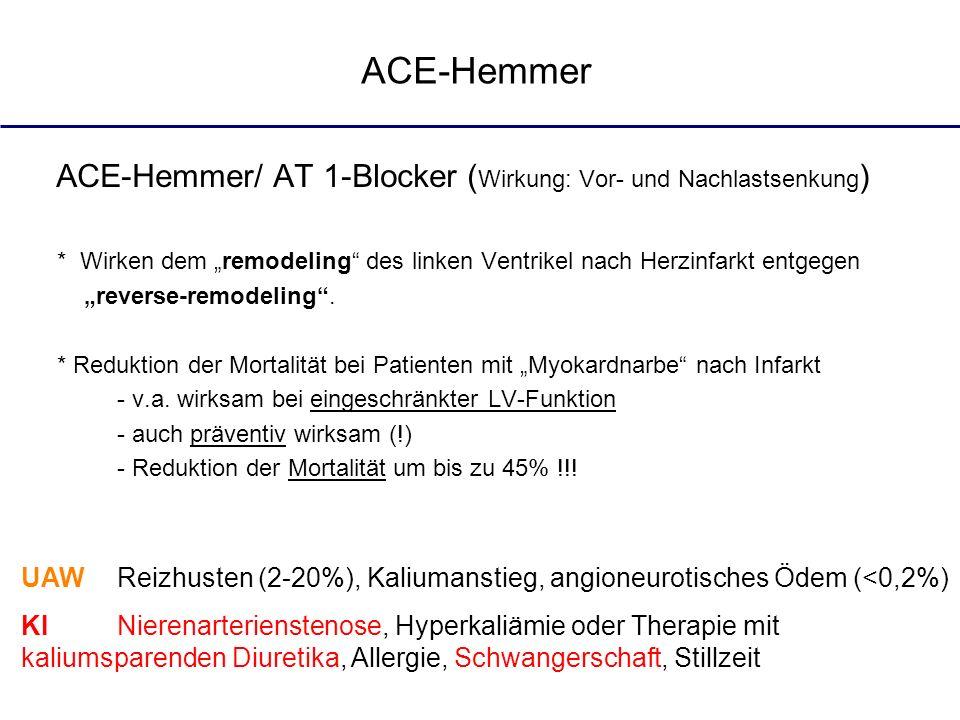 ACE-Hemmer/ AT 1-Blocker ( Wirkung: Vor- und Nachlastsenkung ) * Wirken dem remodeling des linken Ventrikel nach Herzinfarkt entgegen reverse-remodeli