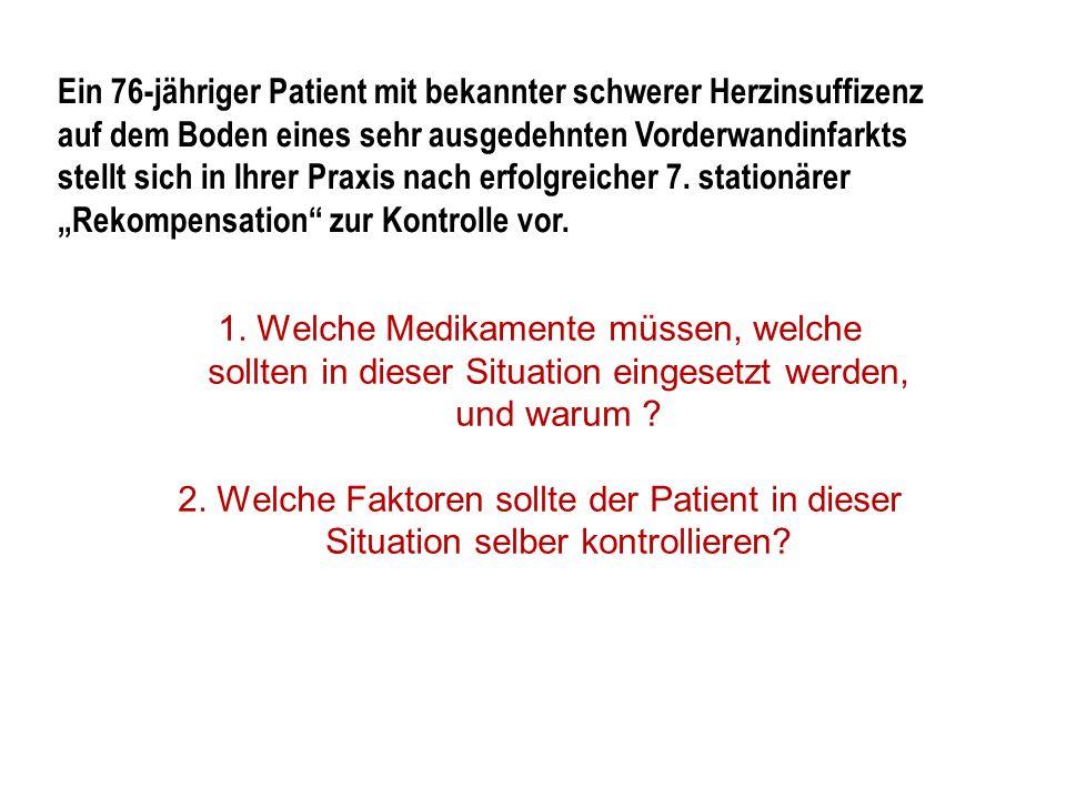 1. Welche Medikamente müssen, welche sollten in dieser Situation eingesetzt werden, und warum ? 2. Welche Faktoren sollte der Patient in dieser Situat