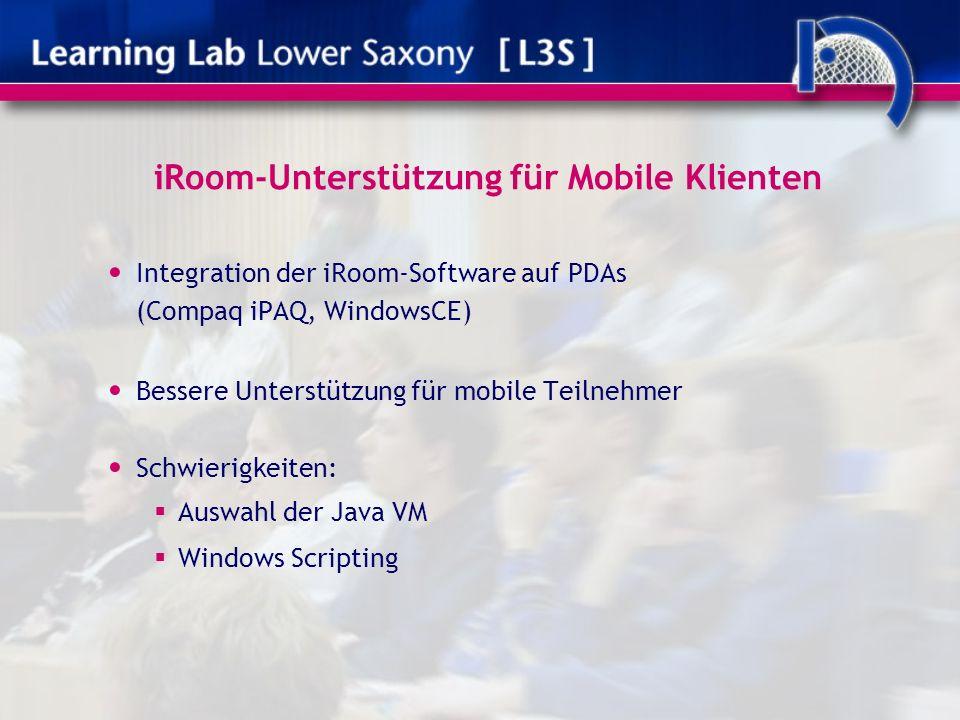 iRoom-Unterstützung für Mobile Klienten Integration der iRoom-Software auf PDAs (Compaq iPAQ, WindowsCE) Bessere Unterstützung für mobile Teilnehmer Schwierigkeiten: Auswahl der Java VM Windows Scripting