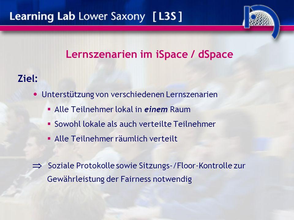 Lernszenarien im iSpace / dSpace Ziel: Unterstützung von verschiedenen Lernszenarien Alle Teilnehmer lokal in einem Raum Sowohl lokale als auch verteilte Teilnehmer Alle Teilnehmer räumlich verteilt Soziale Protokolle sowie Sitzungs-/Floor-Kontrolle zur Gewährleistung der Fairness notwendig