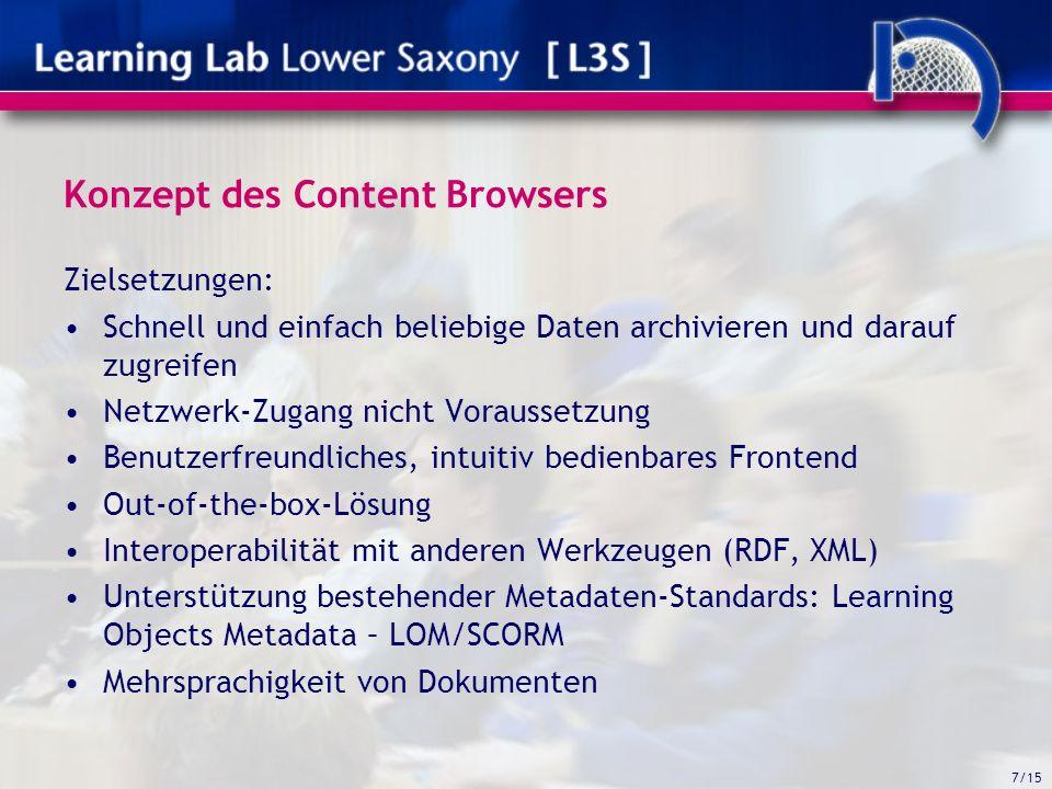 7/15 Konzept des Content Browsers Zielsetzungen: Schnell und einfach beliebige Daten archivieren und darauf zugreifen Netzwerk-Zugang nicht Voraussetzung Benutzerfreundliches, intuitiv bedienbares Frontend Out-of-the-box-Lösung Interoperabilität mit anderen Werkzeugen (RDF, XML) Unterstützung bestehender Metadaten-Standards: Learning Objects Metadata – LOM/SCORM Mehrsprachigkeit von Dokumenten