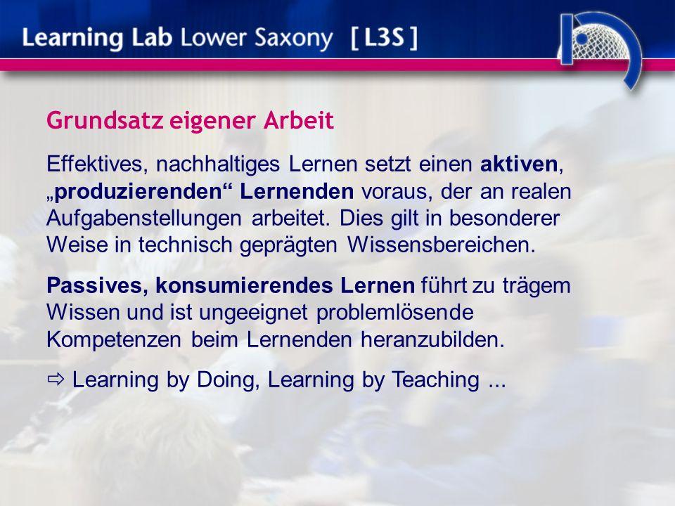 Grundsatz eigener Arbeit Effektives, nachhaltiges Lernen setzt einen aktiven,produzierenden Lernenden voraus, der an realen Aufgabenstellungen arbeitet.