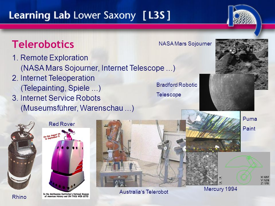 Telerobotics 1. Remote Exploration (NASA Mars Sojourner, Internet Telescope...) 2.