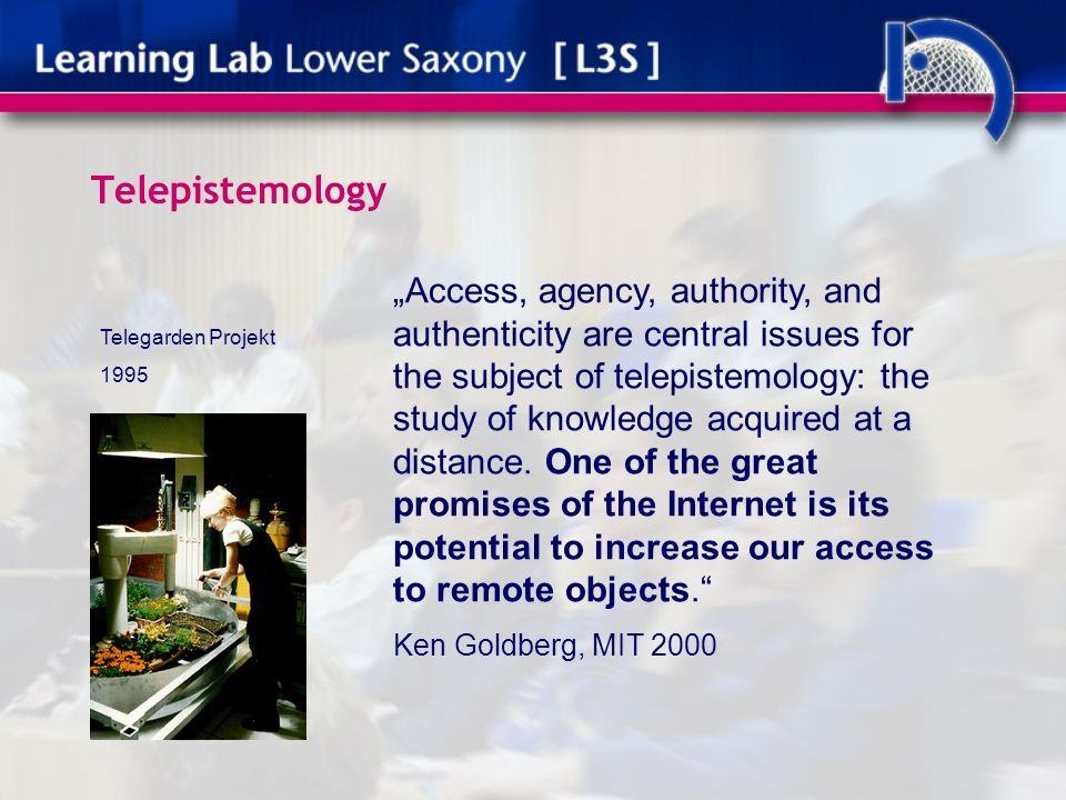 Telepistemology Access, agency, authority, and authenticity are central issues for the subject of telepistemology: the study of knowledge acquired at a distance.