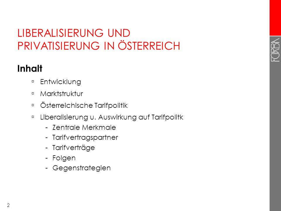 2 LIBERALISIERUNG UND PRIVATISIERUNG IN ÖSTERREICH Inhalt Entwicklung Marktstruktur Österreichische Tarifpolitik Liberalisierung u. Auswirkung auf Tar