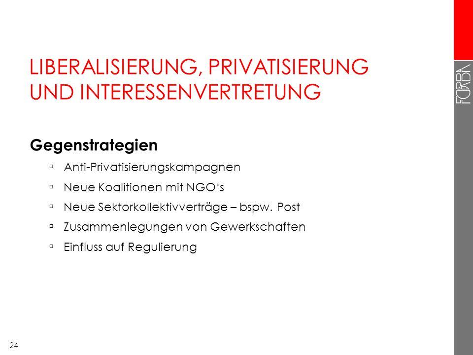 24 LIBERALISIERUNG, PRIVATISIERUNG UND INTERESSENVERTRETUNG Gegenstrategien Anti-Privatisierungskampagnen Neue Koalitionen mit NGOs Neue Sektorkollekt