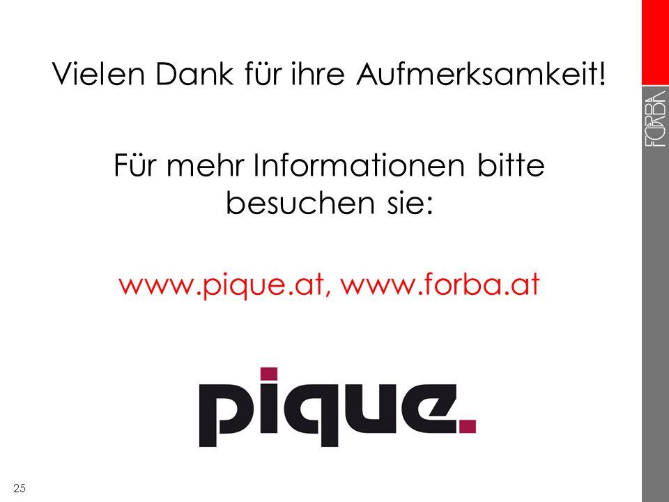 25 Vielen Dank für ihre Aufmerksamkeit! Für mehr Informationen bitte besuchen sie: www.pique.at, www.forba.at