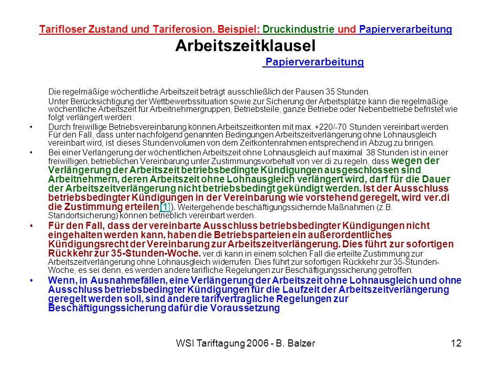 WSI Tariftagung 2006 - B. Balzer12 Tarifloser Zustand und Tariferosion. Beispiel: Druckindustrie und Papierverarbeitung Arbeitszeitklausel Papierverar